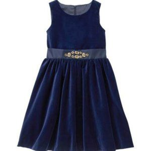 Gymboree Girls Navy Velvet Sleeveless Dress Size 6